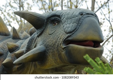 MOSCOW, RUSSIA - APRIL 29, 2017: Ankylosaurus in Dinosaur Park, Moscow, Russia. Prehistoric reptile