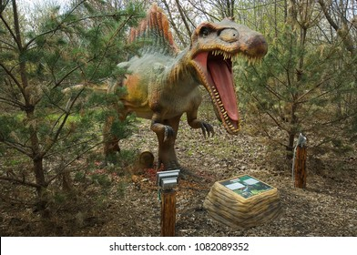 MOSCOW, RUSSIA - APRIL 29, 2017: Spinosaurus in Dinosaur Park, Moscow, Russia. Prehistoric animal, Reptile