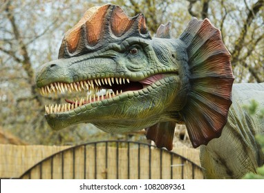 MOSCOW, RUSSIA - APRIL 29, 2017: Dilophosaurus in Dinosaur Park, Moscow, Russia. Prehistoric animal, Reptile