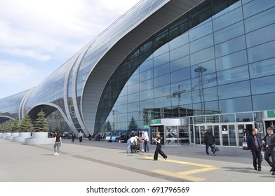 MOSCOW, RUSSIA - APRIL 29, 2017: Domodedovo International Airport - building exterior.
