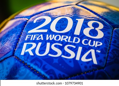 Moscow, Russia. April 29, 2018. Souvenir ball with the emblems of the FIFA World Cup 2018 in Moscow. toned
