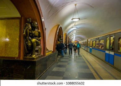 MOSCOW, RUSSIA- APRIL, 29, 2018: The bronze sculpture inside of Ploshchad Revolyutsii subway station