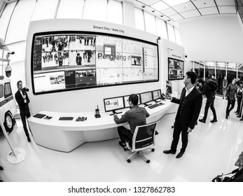 MOSCOW, RUSSIA - APRIL 3, 2018: Huawei Russia manager presents demo stand Smart Safe City at event opening OpenLab department on April 3, 2018 in Moscow, Russia.