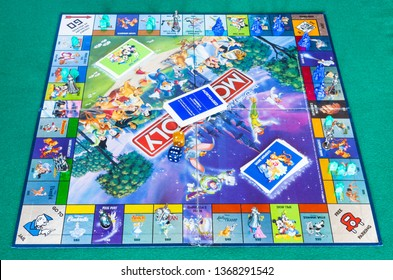 MOSCOW, RUSSIA - APRIL 3, 2019: playfield of Monopoly game, Disney edition. Monopoly is a board game that is currently published by Hasbro in 1935, it was designed by Lizzie Magie and Charles Darrow