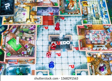 MOSCOW, RUSSIA - APRIL 3, 2019: gameboard of Cluedo (Clue) murder mystery board game. This detective themed board game was first manufactured by Waddingtons in 1949, it was designed by Anthony Pratt