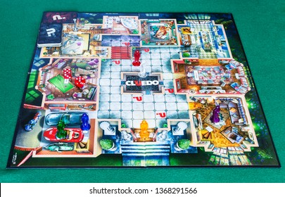 MOSCOW, RUSSIA - APRIL 3, 2019: playfield of Cluedo (Clue) murder mystery board game. This detective themed board game was first manufactured by Waddingtons in 1949, it was designed by Anthony Pratt