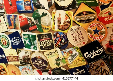 MOSCOW, RUSSIA - APRIL 30, 2016: Vintage beer mats.