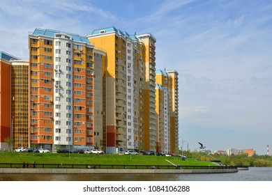 MOSCOW, RUSSIA - APRIL 30, 2018: New comfortable residential area of Pavshinsky floodplain on bank of Moscow River in May