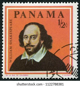MOSCOW, RUSSIA - APRIL 30, 2018: A stamp printed in Panama shows of William Shakespeare (1564-1616), series Famous Men, 1966