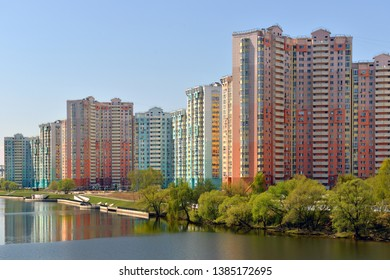 MOSCOW, RUSSIA - APRIL 30, 2019: Spring landscape. New moderny comfortable residential area of Pavshinsky floodplain on banks of Moscow River