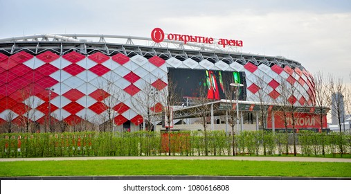MOSCOW, RUSSIA - APRIL 30: Otkritie Arena football stadium in Moscow on April 30, 2018. Otkritie Arena is a stadium which hosts 2018 FIFA World Cup in Russia.