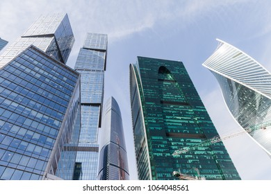 MOSCOW, RUSSIA - APRIL 5, 2018: Modern architecture skyscrapers and office building towers of International Business Center at Moscow City