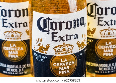 Moscow, RUSSIA - April 6, 2017: Corona extra beer global brand. Corona extra Lager Beer is the flagship product of the Mexican company Grupo Modelo