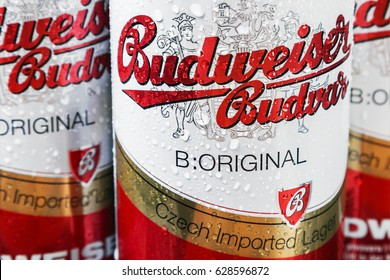 Moscow, RUSSIA - April 6, 2017: Budweiser beer global brand. rotation video. Budweiser Lager Beer is the flagship product of Czech Republic