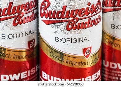 Moscow, RUSSIA - April 6, 2017: Budweiser beer global brand. Budweiser Lager Beer is the flagship product of Czech Republic