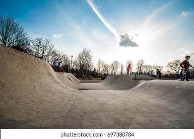 Moscow, Russia - April 6, 2017: Skate area at the Gorky Park where the young skateboarders is skating