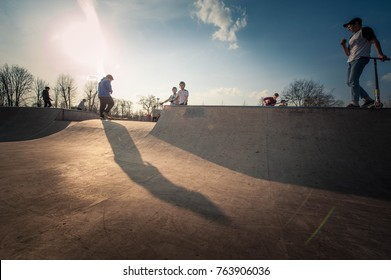 Moscow, Russia - April 6, 2017: Skate area at the Gorky Park where the young skateboarders are skating