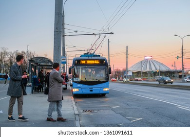 Moscow, Russia - April, 6, 2019: bus on Moscow street