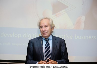 MOSCOW, RUSSIA - APRIL 7, 2016: Head of Scheer GmbH  group professor August-Wilhelm Scheer make speech at BPM Forum conference on April 7, 2016 in Moscow, Russia.