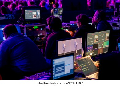 "Moscow, Russia - April 7, 2017: Technical staff is working on the show. Conference ""Traffic. Applications. Sales"" Moscow, Russia April 7, 2017"