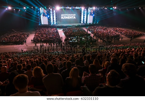 """Moscow, Russia - April 7, 2017: People attend business conference """"Traffic. Applications. Sales""""  in congress hall"""