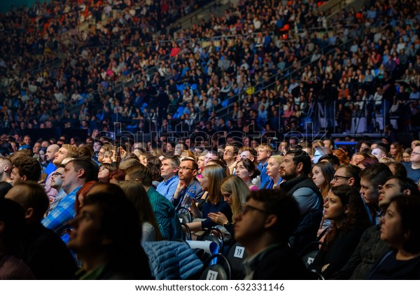 """Moscow, Russia - April 7, 2017: People attend business conference in congress hall. Conference """"Traffic. Applications. Sales"""" Moscow, Russia April 7, 2017"""
