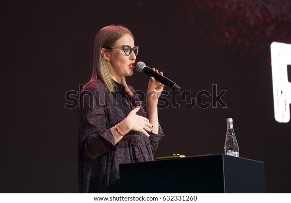 """Moscow, Russia - April 7, 2017: Ksenia Sobchak - Russian television and radio presenter, a journalist, a public figure, and an actress performs at business conference """"Traffic. Applications. Sales"""" Moscow, Russia April 7, 2017"""
