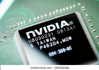 Moscow, Russia - April 7, 2019: NVIDIA microchip on the motherboard, close-up