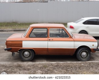 MOSCOW, RUSSIA - APRIL 8, 2017: Classic retro car white ZAZ Zaporozhets 968 designed and built from 1971-1980 at the ZAZ factory in Soviet Ukraine