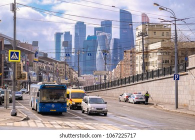 Moscow, Russia - April, 8, 2018: bus on the Moscow street