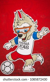 MOSCOW, RUSSIA - APRIL 8, 2018: Official Mascot of FIFA 2018 World Cup in Russia - Zabivaka. Symbol of Football (Soccer) Championship 2018, Zabivaka Wolf Mascot. Close Up Image.