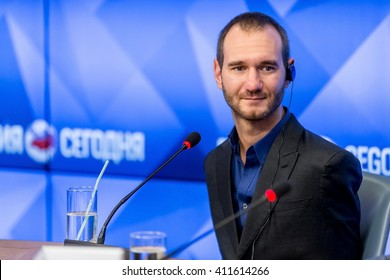 "Moscow, Russia - April 8: Australian motivational speaker Nick Vujicic at a press conference in MIA ""Russia today"". In Moscow in 2016."