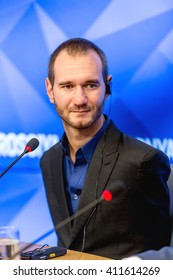 """Moscow, Russia - April 8: Australian motivational speaker Nick Vujicic at a press conference in MIA """"Russia today"""". In Moscow in 2016."""