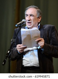 MOSCOW, RUSSIA - APRIL 9, 2015:Well-known Russian satirist, writer and humorist Yefim Smolin.