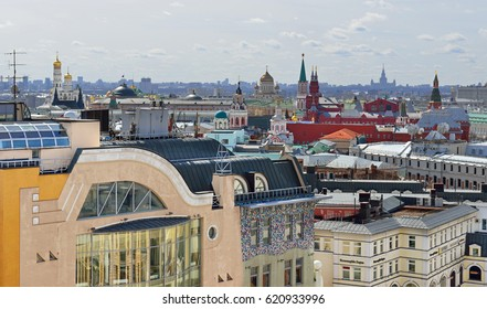 MOSCOW, RUSSIA - APRIL 9, 2017: View of city center from above