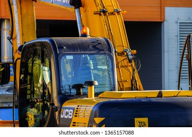 MOSCOW, RUSSIA, APRIL,2.2019: JCB excavator cab close-up.Powerful excavator of the British company JCB