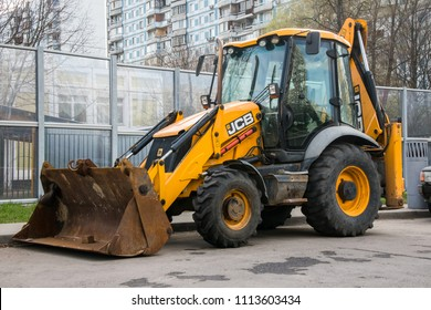 MOSCOW, RUSSIA, APRIL,29.2018: Widespread model of the universal backhoe loader of JCB Company (Great Britain).