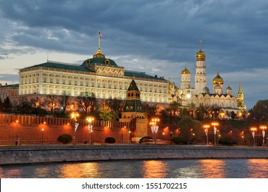 MOSCOW, RUSSIA - Architectural Ensemble of Moscow Kremlin in Spring Twilight. View from Sofiyskaya Embankment of Moskva River.