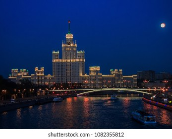 MOSCOW, RUSSIA - Arpil 29, 2018: Building on Kotelnicheskaya embankment at night. Moscow
