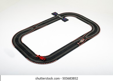 Moscow, Russia - Aug 14, 2010: Slot car racing track with formula one cars.