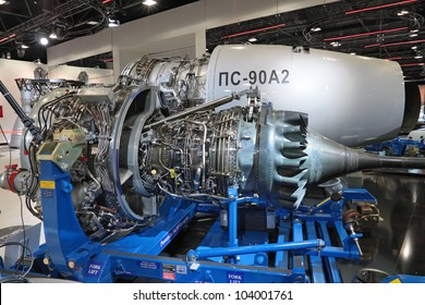 MOSCOW, RUSSIA - AUG 16: The engine of the plane at the fork lift on International Aviation and Space salon MAKS. Aug, 16, 2011 at Zhukovsky, Russia