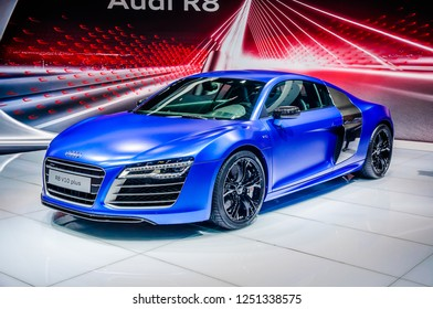 MOSCOW, RUSSIA - AUG 2012: AUDI R8 V10 PLUS presented as world premiere at the 16th MIAS (Moscow International Automobile Salon) on August 30, 2012 in Moscow, Russia