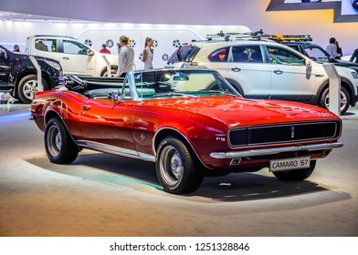 MOSCOW, RUSSIA - AUG 2012: CHEVROLET CAMARO 1967 presented as world premiere at the 16th MIAS (Moscow International Automobile Salon) on August 30, 2012 in Moscow, Russia