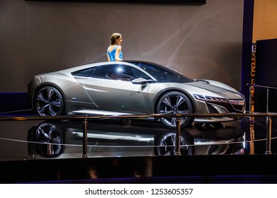 MOSCOW, RUSSIA - AUG 2012: HONDA NSX CONCEPT presented as world premiere at the 16th MIAS (Moscow International Automobile Salon) on August 30, 2012 in Moscow, Russia