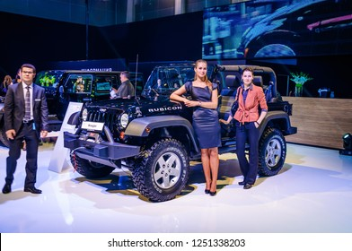 MOSCOW, RUSSIA - AUG 2012: JEEP WRANGLER RUBICON 2ND GENERATION presented as world premiere at the 16th MIAS (Moscow International Automobile Salon) on August 30, 2012 in Moscow, Russia