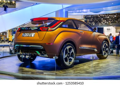 MOSCOW, RUSSIA - AUG 2012: LADA XRAY CONCEPT presented as world premiere at the 16th MIAS (Moscow International Automobile Salon) on August 30, 2012 in Moscow, Russia