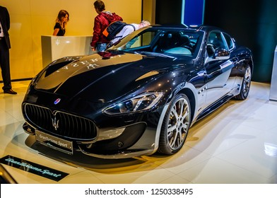 MOSCOW, RUSSIA - AUG 2012: MASERATI GRANTURISMO SPORT presented as world premiere at the 16th MIAS (Moscow International Automobile Salon) on August 30, 2012 in Moscow, Russia