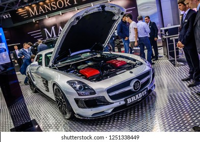 MOSCOW, RUSSIA - AUG 2012: MERCEDES-BENZ SLS AMG ROADSTER BRABUS presented as world premiere at the 16th MIAS (Moscow International Automobile Salon) on August 30, 2012 in Moscow, Russia