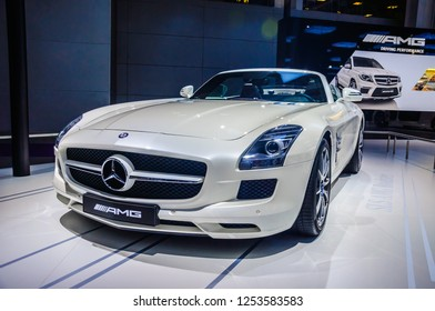 MOSCOW, RUSSIA - AUG 2012: MERCEDES-BENZ SLS AMG COUPE C197 presented as world premiere at the 16th MIAS (Moscow International Automobile Salon) on August 30, 2012 in Moscow, Russia