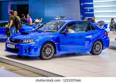 MOSCOW, RUSSIA - AUG 2012: SUBARU WRX STI 3RD GENERATION presented as world premiere at the 16th MIAS (Moscow International Automobile Salon) on August 30, 2012 in Moscow, Russia